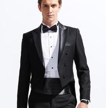 Black Formal Men Suits Tailcoat 2018 Peaked Lapel Custom Made Groom Tuxedos for Wedding  (Jacket + Pants + Waistband )