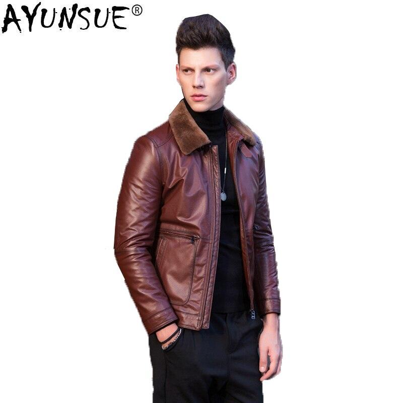 AYUNSUE для мужчин s из натуральной коровьей кожи куртка Осень Зима Короткие Теплые Пальто мотоциклетная мужская одежда 2018 Flight KJ1210