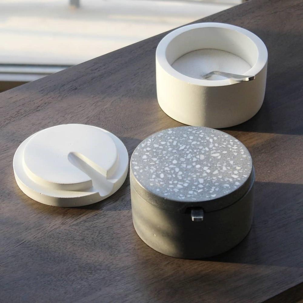 Concrete Kitchen Condiment Box Silicone Mold Cement  Gypsum Handicraft Mould