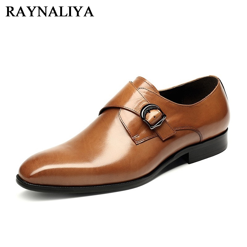 New 2018 Men Business Formal Dress Shoes Oxford Men Leather Shoes Pointed Toe British Style Men Shoes Brown Black YJ-A0013 christia bella fashion brand british style genuine leather formal men shoes business wedding pointed toe buckle men oxford shoes