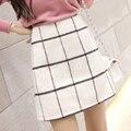 2016 primavera nueva alta calidad faldas escocesas de lana de lana para mujer de la falda faldas para mujer OL temperamento JN161