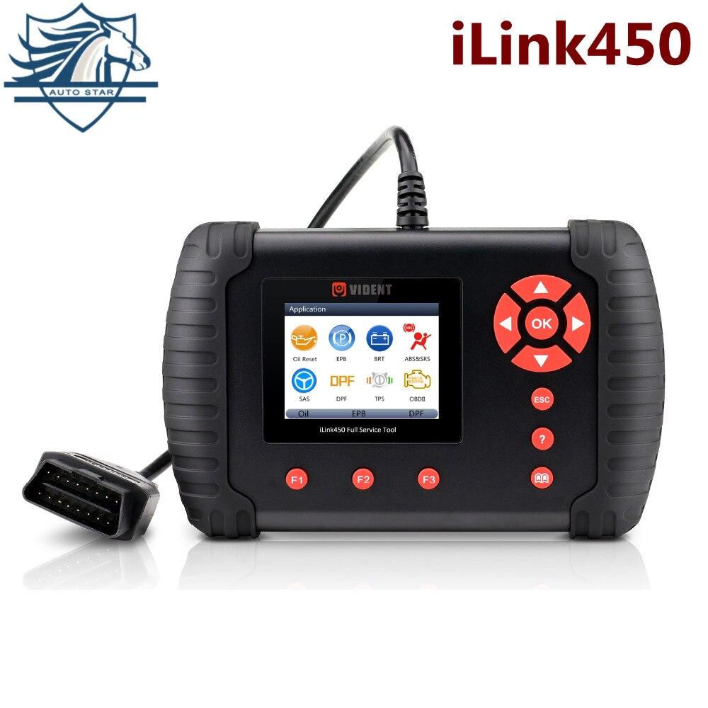 VIDENT iLink450 Completa Do Sistema De Diagnóstico Ferramenta de Redefinição de Petróleo EPB SRS ABS SAS TPS BRT Airbag Redefinir DPF de Alinhamento Do Corpo Do Acelerador