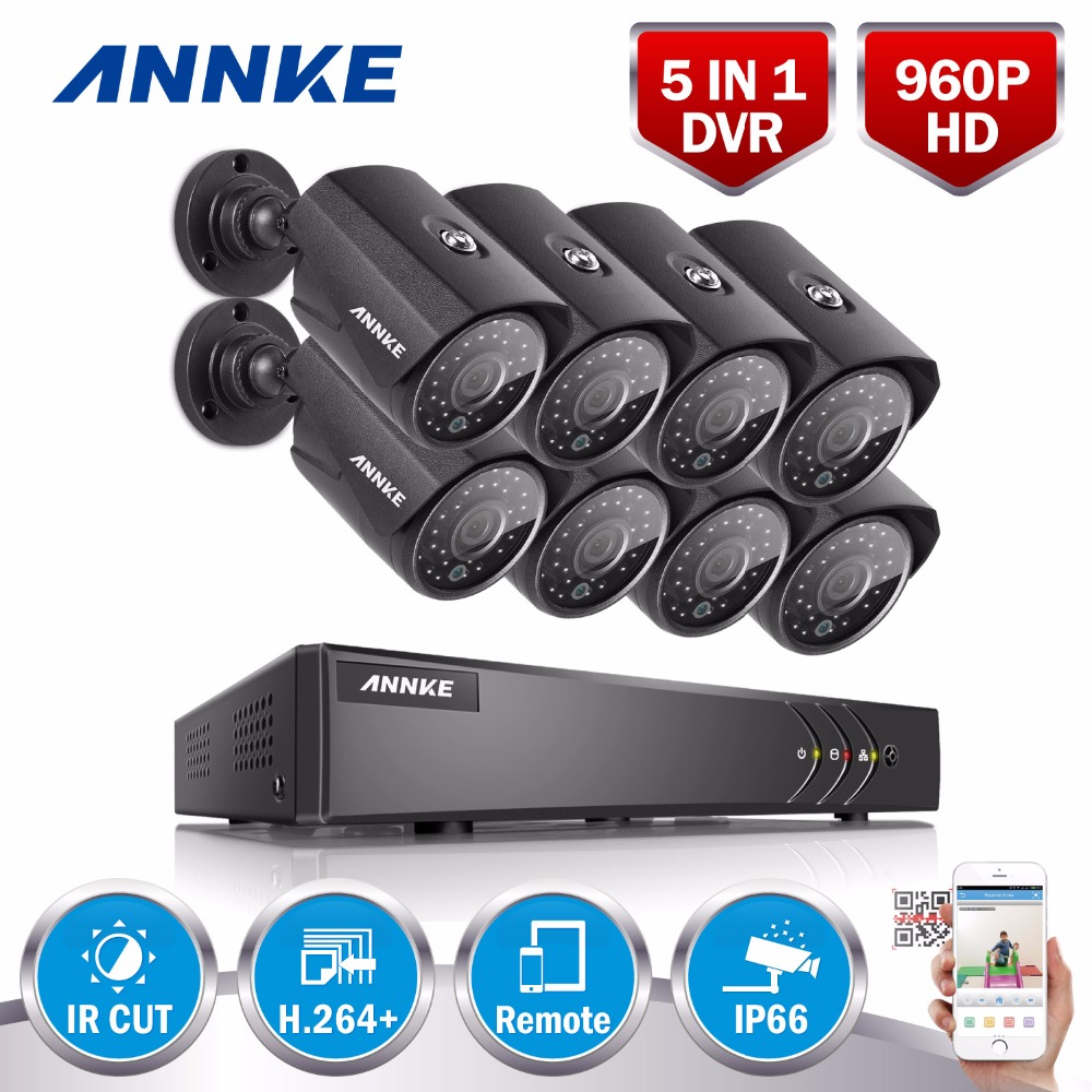 ANNKE 8CH 960P AHD DVR Video 8 PCS 1.0MP CCTV Home Security Cameras  HD Outdoor IR Night Vision Surveillance System Kit greatech hd 8 channel ahd dvr kit 720p video surveillance security outdoor indoor cctv 8 cameras 1200tvl ahd system 8ch