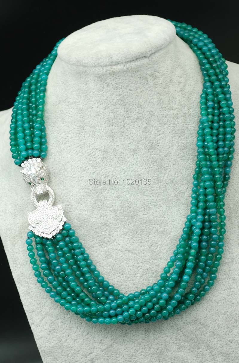 10rows green jasper  beads  round 4mm necklace 20inch and leopard clasp wholesale beads