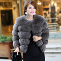 Luxury Women's Natural Fox Fur Jacket Three Quarter Sleeve Female Winter Warm Short Outerwear Coats VK1037