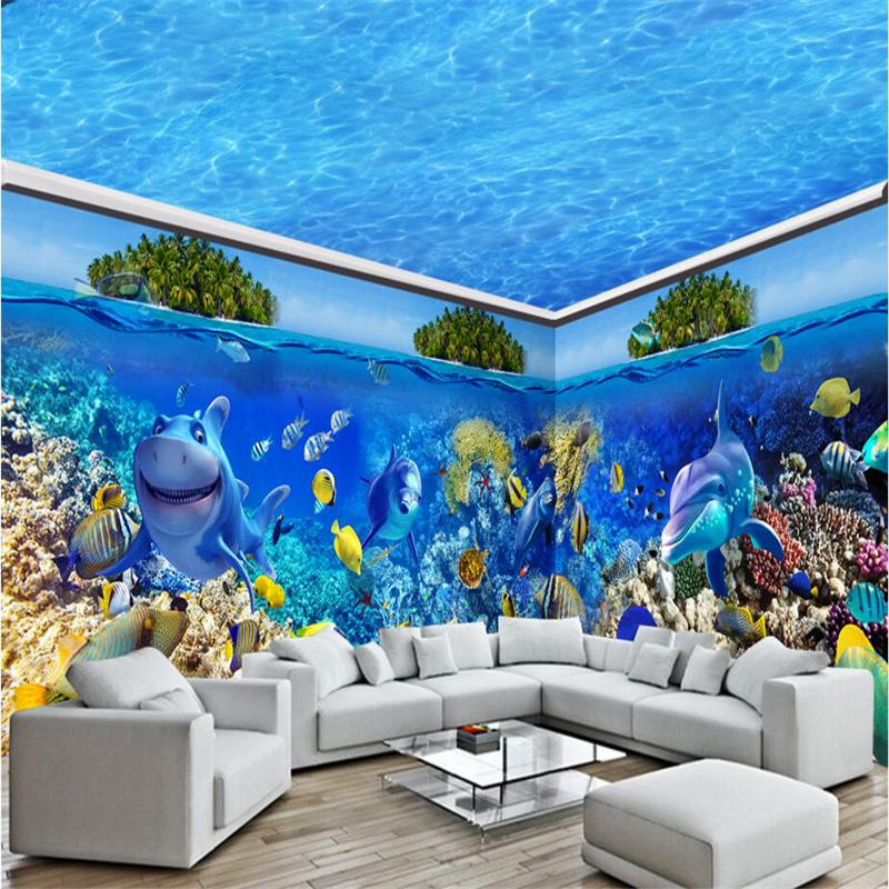 Beibehang Underwater World Dolphin Whale Full House Home Custom Mural Wallpaper TV Backdrop Bedroom Living Room Photo Wall Paper In Wallpapers From