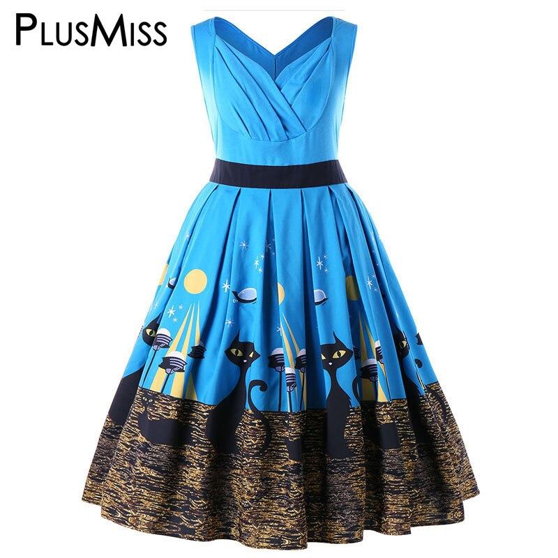 PlusMiss Plus Size 5XL Vintage Retro 50s Cat Printed Sleeveless Midi Dress Summer 2018 Swing Tank Party Dresses Women Big Size