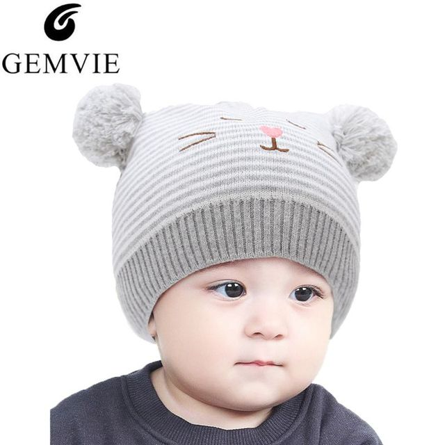 Winter Baby Cute Knitted Hat Cartoon Hat Outdoor Keep Warm Cotton Cap Kids  Lovely Fur Ball 35da7af76c74