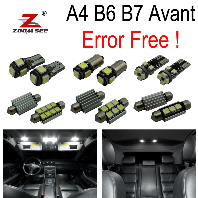 21pc X Canbus No Error LED حزمة خريطة القبة الداخلية Kit Package for Audi A4 S4 RS4 B6 B7 Avant Wagon فقط (2002-2008)