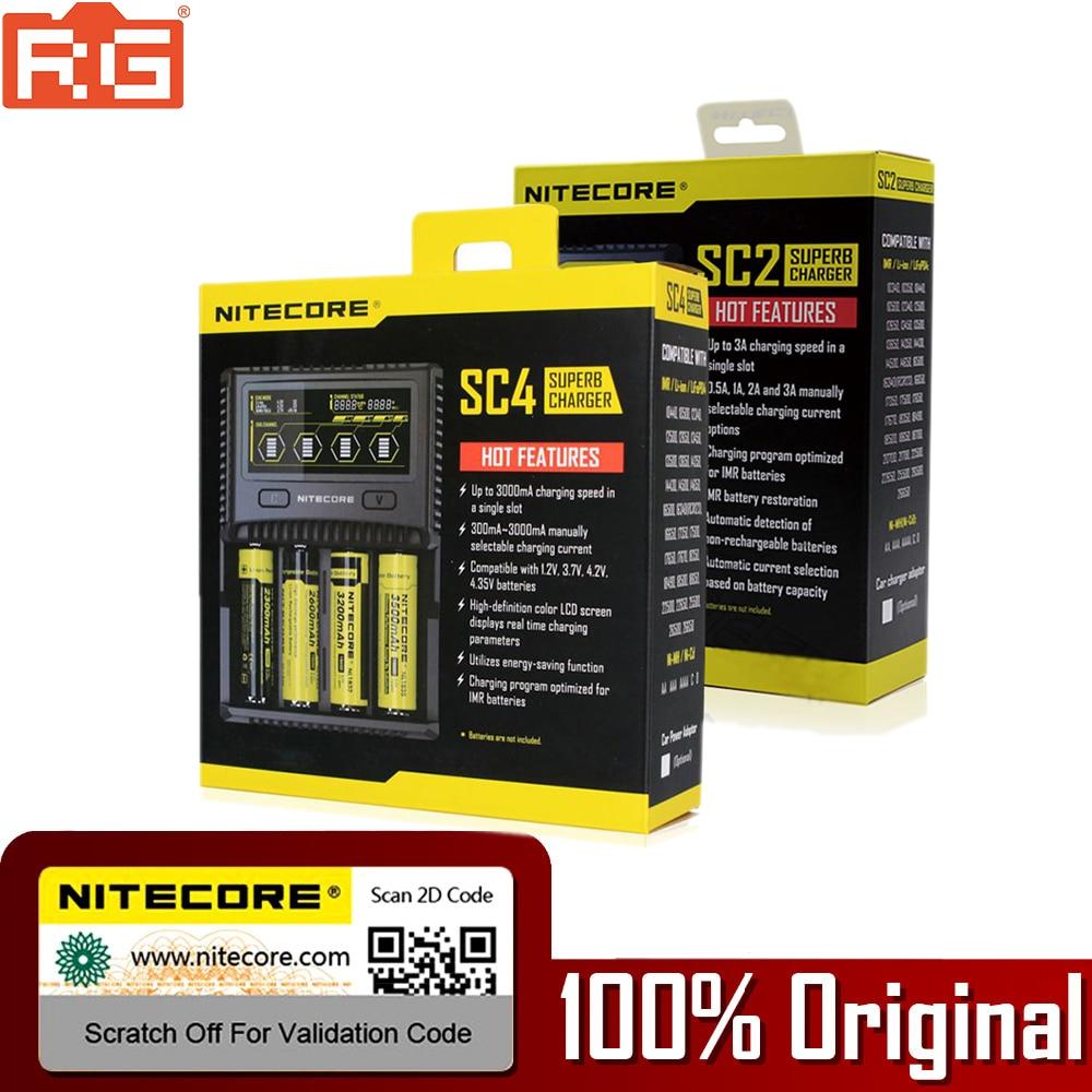 Nitecore SC4 LCD affichage USB rapide chargeur Intelligent pour Li-ion IMR LiFePO4 Ni-MH 18650 14450 16340 AA batterie