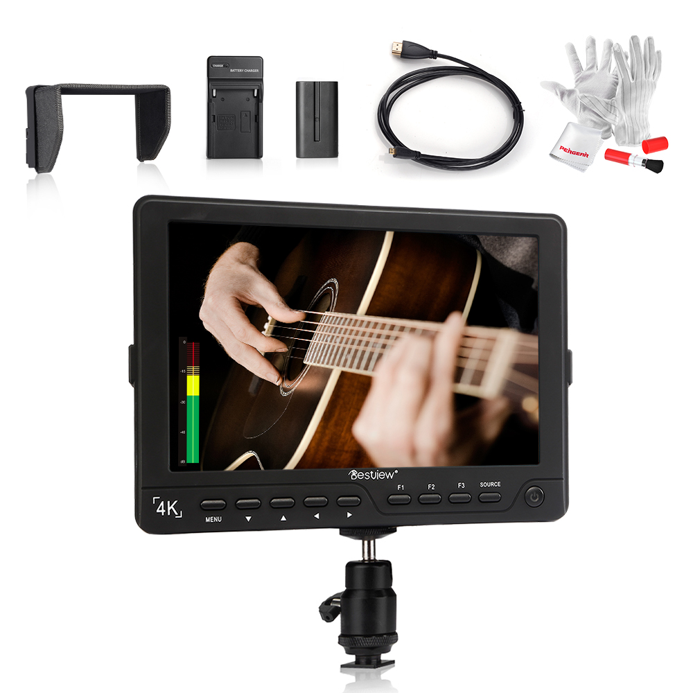 Bestview S7 4K 7 Inch HD HDMI Field LCD Monitor 1920*1200 + Micro HDMI Cable + 2200mAh Battery with Charger + Clean Kit for DSLR aputure vs 5 7 inch sdi hdmi camera field monitor with rgb waveform vectorscope histogram zebra false color to better monitor