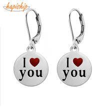 Hapiship 2019 Women's Fashion Stainless Steel Round I love You Charm Dangle Earrings For Women Jewelry DJ047(China)