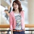 2017 Primavera e Verão Camisola Das Mulheres 10 Cores Com Decote Em V Manga Comprida Curto Cardigans Camisola Frete grátis