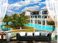 3d Wallpaper Balcony Villa Blue Sky White Cloud Trees Background Wall 3d Landscape Wallpaper Mural 3d