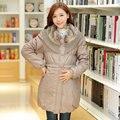 2017 женщин Зимой материнства ватные куртки верхняя одежда для беременных женщин Меховой воротник по беременности и родам одежда сгустите вниз пальто Корейский