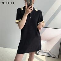 2019 New Sexy Women's Dresses Short sleeve Spliced TShirt Dress spring summer Casual black Knit Dress Female Vestidos