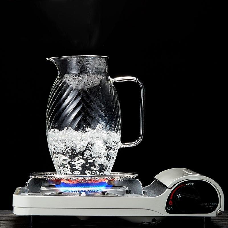 1500 ml style japonais marteau motif verre bouteille d'eau haute capacité jus de fruits lait café bouilloire résistant à la chaleur citron théière - 6