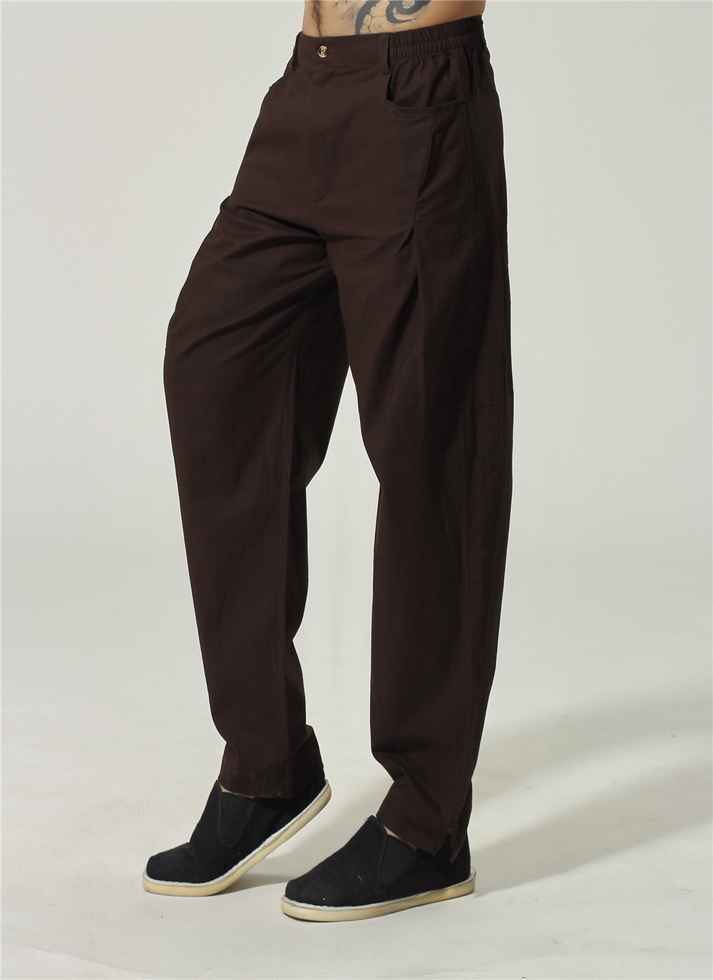 High Quality Chinese Men Cotton Kung Fu Pant Casual Draped -5219