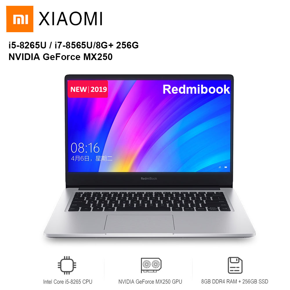 2019 Xiaomi Redmibook 14 ordinateur portable Intel Core i5-8265U/i7-8565U NVIDIA GeForce MX250 8 GB DDR4 256 GB/512 GB SSD Ultra mince ordinateur portable