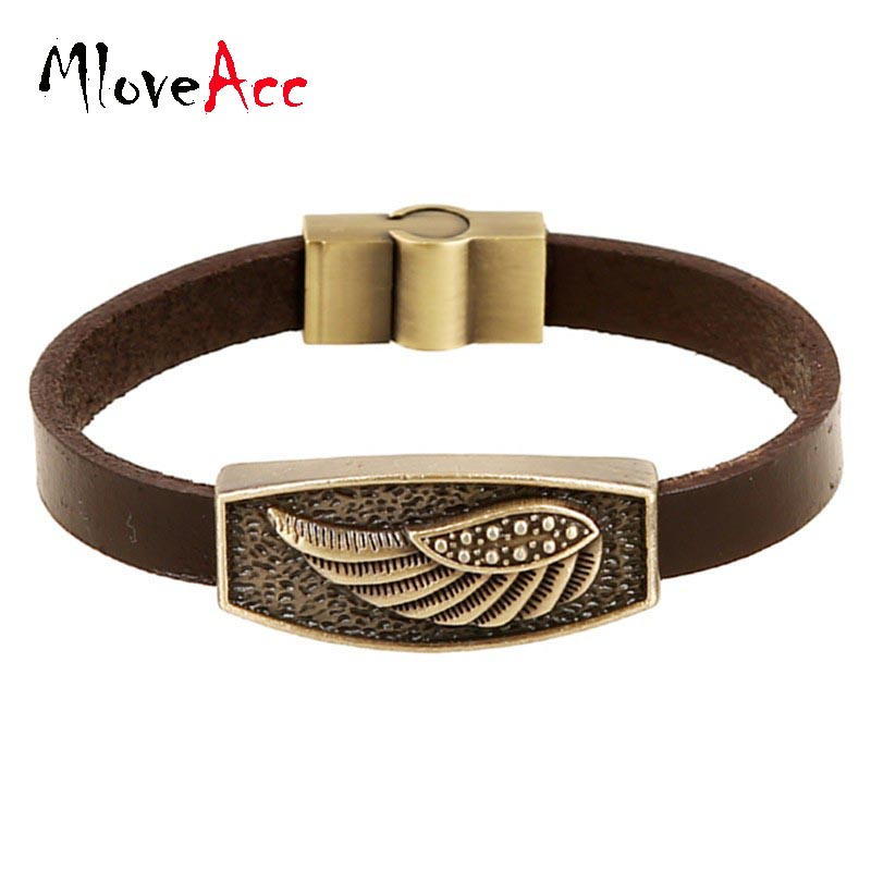 Vintage Retro Pulseira Homens Masculina Couro Male Cool Leats