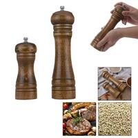 Мельница для соли и перца, мельницы для перца из цельного дерева с сильным Регулируемый Керамический шлифовальный станок 5