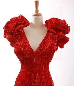 Image 5 - J66736 jancember sereia vestidos de noite profundo decote em v mangas especiais boné flores rendas vermelho noiva vestidos de festa de casamento abendkleid