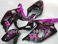 Горячие продажи, ABS пластиковый комплект для Suzuki GSXR 600 GSXR 750 2001 2003 Фиолетовый Пламя гоночные наборы обтекателей кузова (литье под давлением)