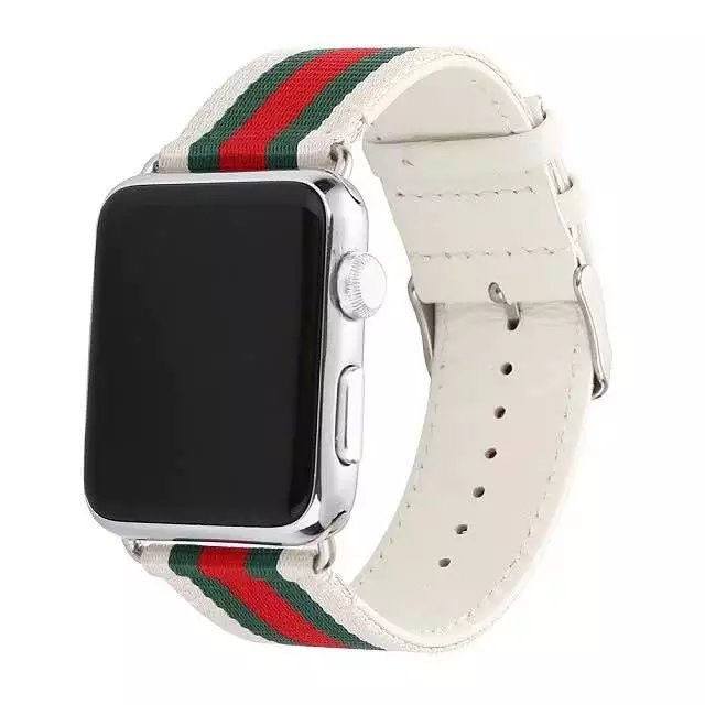 1368ec23155 Woven Canvas Casual Sports Watch Band Iwatch Strap Genuine Leather Watch  Belt for Apple Watch-in Watchbands from Watches on Aliexpress.com