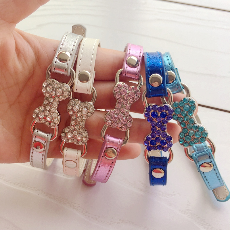 Bling Bone Pet Dog Collar with Rhinestone For Puppies Small Animals Cat Little Breeds Chihuahua Yorkshire Accessories Products