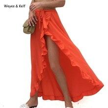 Weyes & Kelf Split Up Bohemian Chiffon Skirts Womens Vintage Party Elegant Long Skirt Casual Loose Maxi Beach Summer Solid