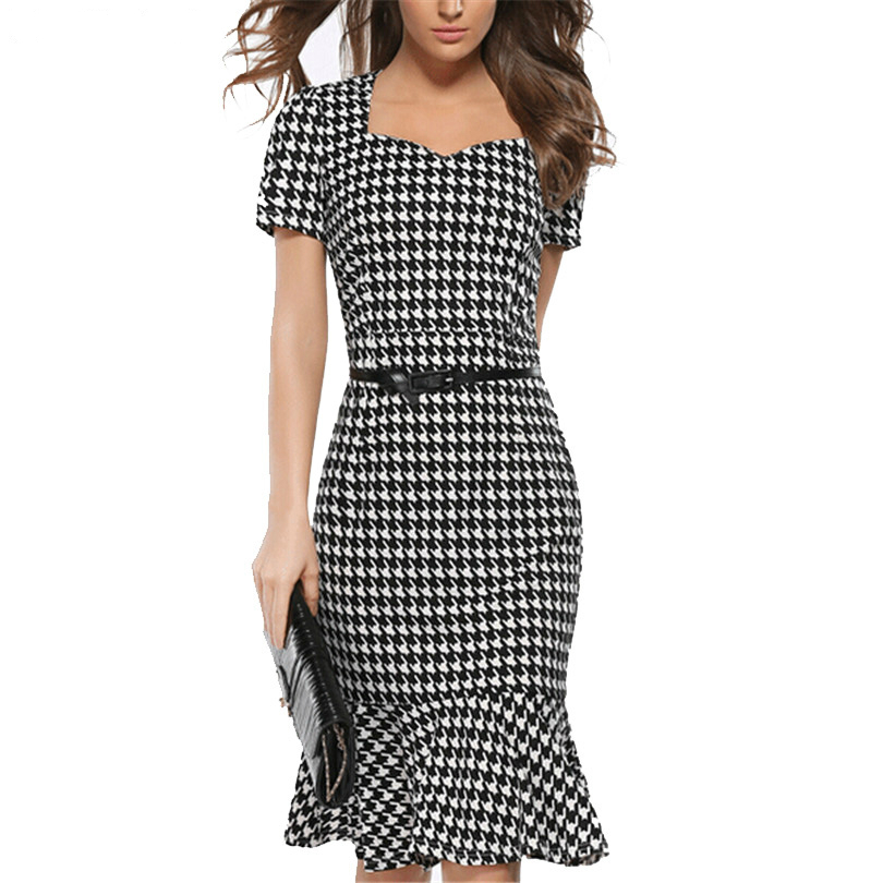 19cb03175e Women Elegant Slimming Dress Summer Houndstooth Work Office Dress Ladies  Sexy Evening Party Mermaid Tunic Bodycon Dress Vestidos