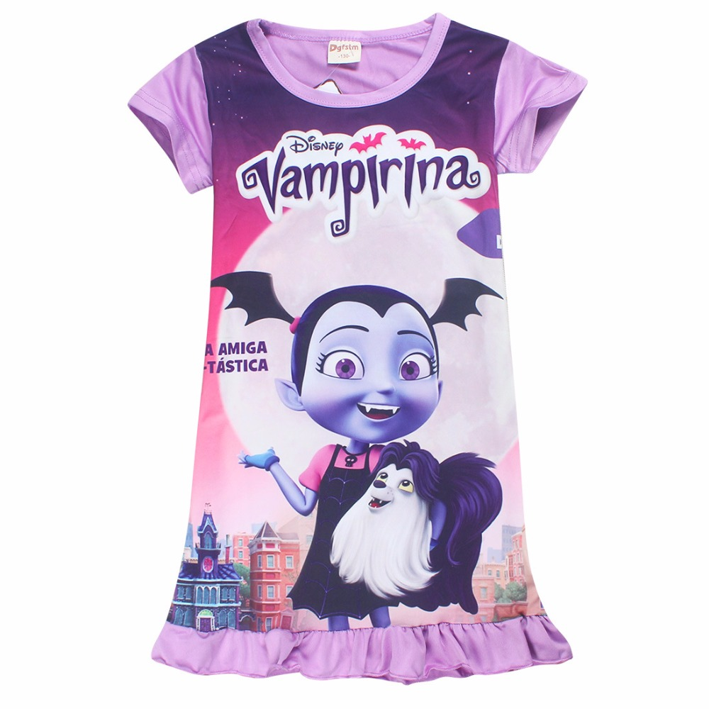 Summer Kid Clothes Princess Party Dresses Children Clothing New Years Cartoon Junior Vampirina Vamp Batwoman Girls Dress DS19