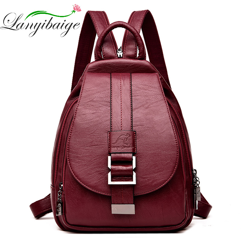 2019 Designer Backpacks Women Leather Backpacks Female School Bag  For Teenager Girls Travel Back Bag Retro Bagpack Sac A Dos