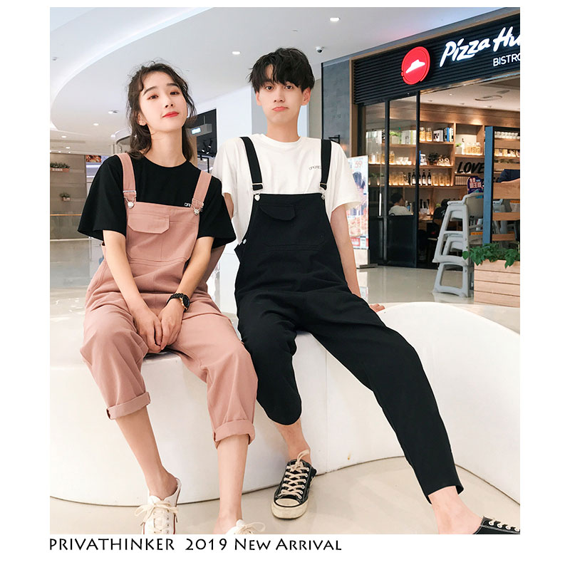 Privathinker Men Woman Sleeveless Overalls 2019 Black Casual Lovers Streetwear Pant Couple Casual Summer Fashion Overall Pants
