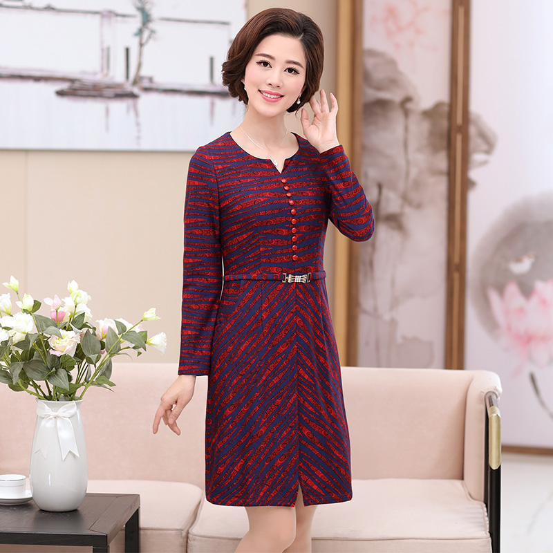 836aae646a31 2018 mother dress dress spring and autumn clothing women middle-aged knee  over 40 years