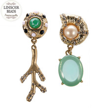 LINSOIR 2017 Fashion Acrylic Resin Crystal Stud Earrings For Women Cute  Shell Leaf Chandelier Earings Aretes 874241248ee7