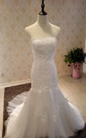 Free Shipping Popular Strapless Mermaid Pleated Tulle Wedding Dresses Gowns With Appliques And Sashes ZH0177