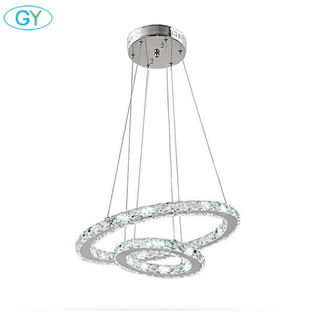 Modern 27W D20+D40cm 2 rings LED Chandelier Stainless Steel Clear Crystal Flush Mount hanging Lamp Home Lighting Fixtures