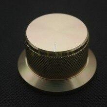 1 PC 44*25mm Goldene Eloxiert Cnc gefräste Massivem Aluminium Potentiometer Drehknopf Für DAC CDPlayer Verstärker Lautsprecher volumen