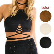 a5852b430b Sexy Women Faux Leather Suede Crop Tank Top Lace Up Slim Fit Party Vest Tops  JL