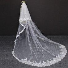 Hohe Qualität 2 Schichten Lange 3 M Hochzeit Schleier 3 Meter 2 T Pailletten Spitze Abdeckung Gesicht Weiß Elfenbein Braut schleier Braut Zubehör