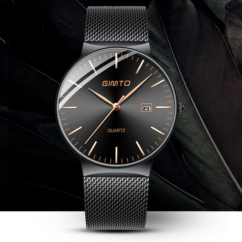 GIMTO Fashion Quartz Watch Men 2018 New Steel Band Male Black Clock Date Casual Hand Watches Sport Waterproof Relogio Wristwatch luxury men quartz watch fashion tungsten band watch 50 meter waterproof gift casual clock male wristwatch clock relogio with box