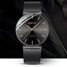 99397d4bd81 GIMTO Moda Relógio de Quartzo Dos Homens Hot New Masculino Banda de Aço Preto  Relógio Data