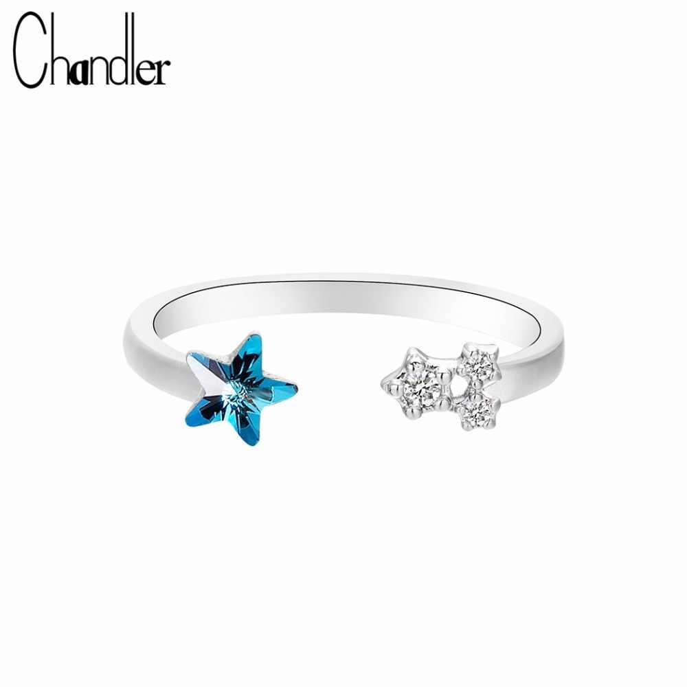 Chandler новые кольца со звездами 925 Хрустальная Морская звезда кольцо для женщин девочек обручальное кольцо высокого качества жена GF подарок