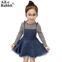 AiLe Rabbit 2018 Autumn Girls Clothes Set Stripe Tops Bottom Shirt with Denim Overalls Dress 2 Pcs Fashion Children's Suits