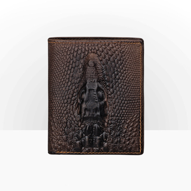 7dfa767860 US $10.91 48% OFF|Fashion Mens Genuine Leather Crocodile Animal Print  Wallet Men Casual Leather Vertical Wallet Male Coin Card Holder Purse-in  Wallets ...