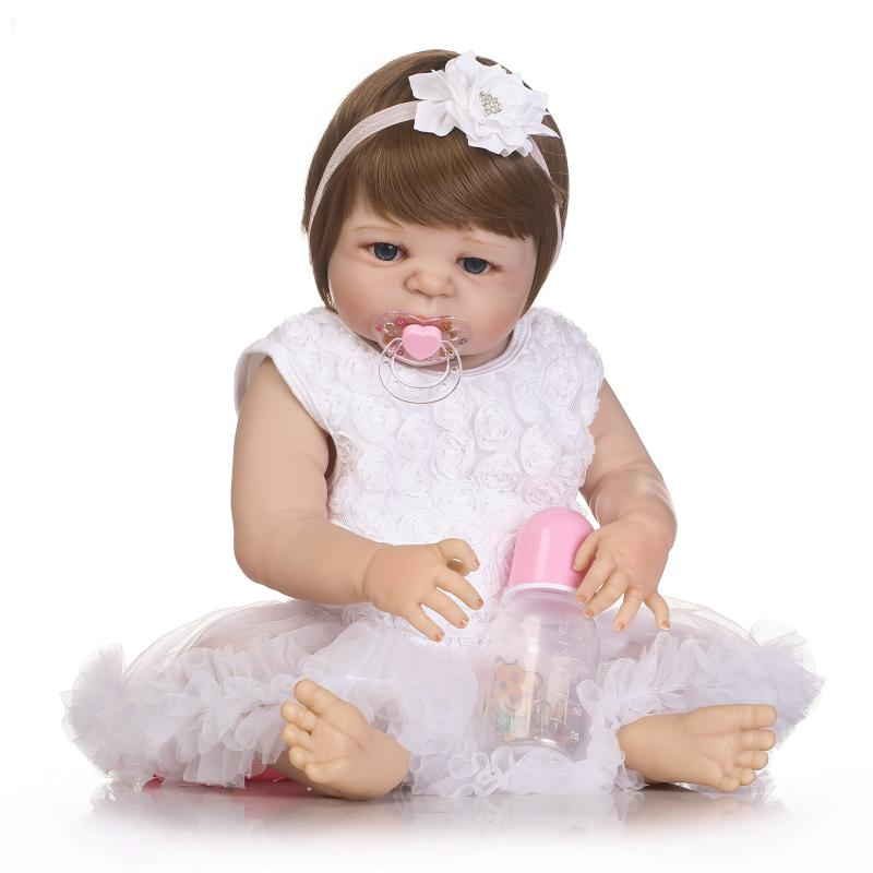 55cm New Hair Color Full Body Silicone Reborn Baby Doll Toys Realistic Newborn Girl Babies Dolls Gift Birthday Gift Bathe Toy full silicone body reborn baby doll toys lifelike 55cm newborn boy babies dolls for kids fashion birthday present bathe toy
