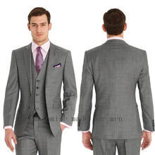 Bespoke Grey Classic Groom Suits For Men