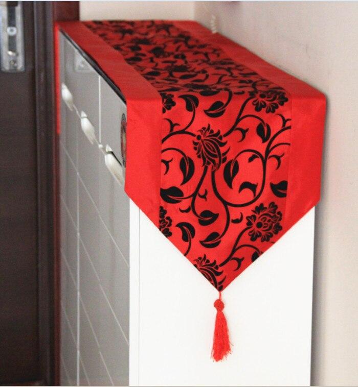 Ubrus v evropském stylu / černé květiny Evropské běžce na stůl pro pokrývku jídelního stolu 33 * 200cm / patry dekorace doprava zdarma