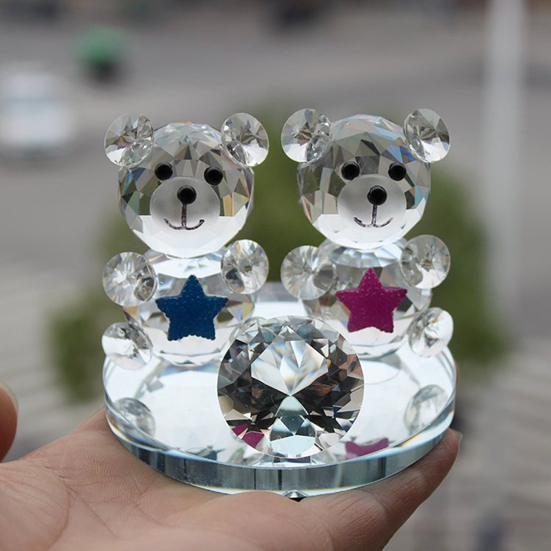 Clear Rare Crystal Glass Decorative Animal Teddy Bear